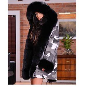 Hood Coat Faux Fur Lined Overcoat Winter Camo